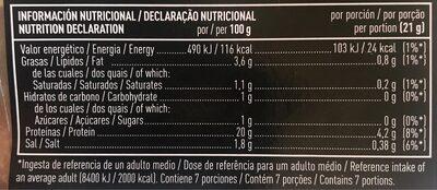 Jamón cocido extra selección lonchas sin gluten - Informations nutritionnelles - es