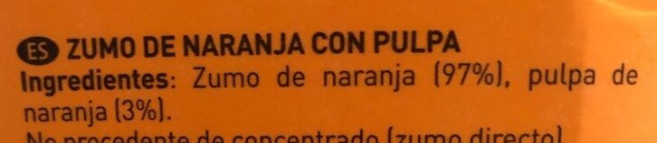 Zumo de naranja Valencia late con pulpa - Ingredientes - es