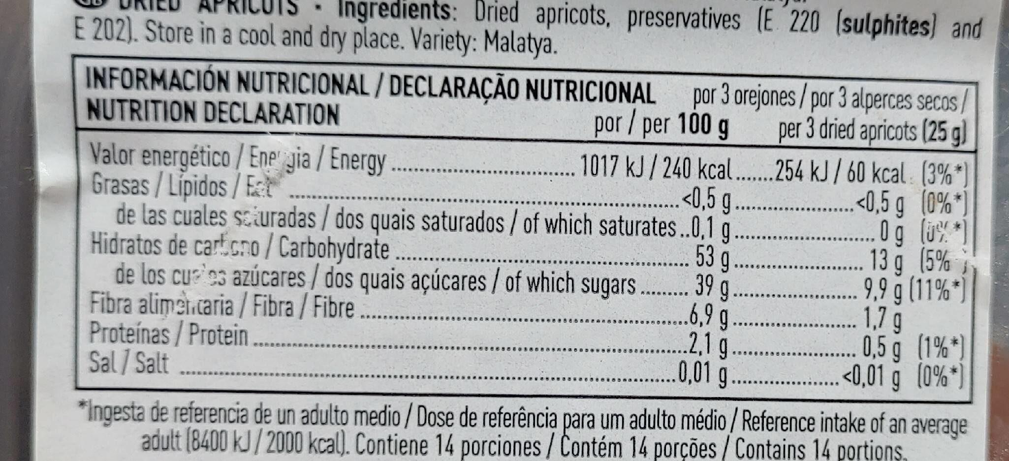 Orejones de albaricoque - Información nutricional