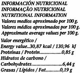 Remolacha rallada en hilos - Informations nutritionnelles