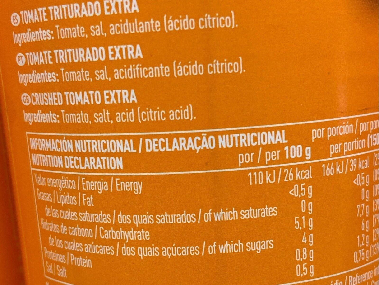 Tomate Triturado Extra - Informations nutritionnelles - es