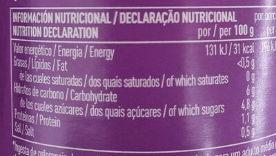 Tomate pelado troceado extra - Informations nutritionnelles - es