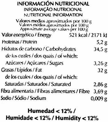 Semillas de girasol sin cáscara - Nutrition facts