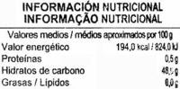 Mermelada de melocotón - Informació nutricional - es