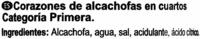 Alcachofas en cuartos en conserva - Ingredients