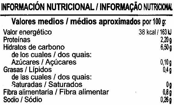 Alcachofas de alcachofa en cuartos - Información nutricional - es