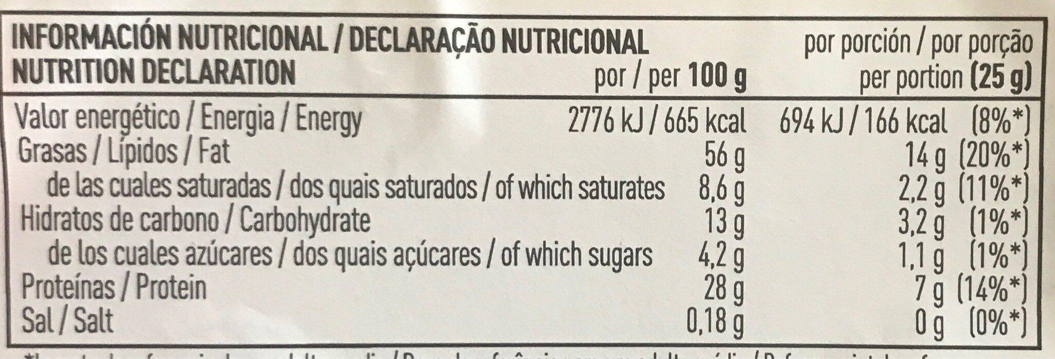 Cacahuetes virginia fritos pelados tarrina - Informació nutricional - es