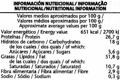 Cacahuetes Virginia fritos - Información nutricional