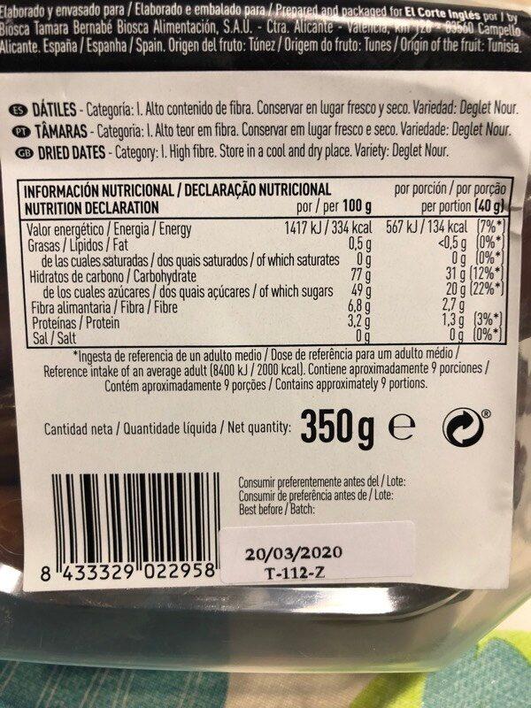 Dátiles naturales tarrina - Ingrédients - es