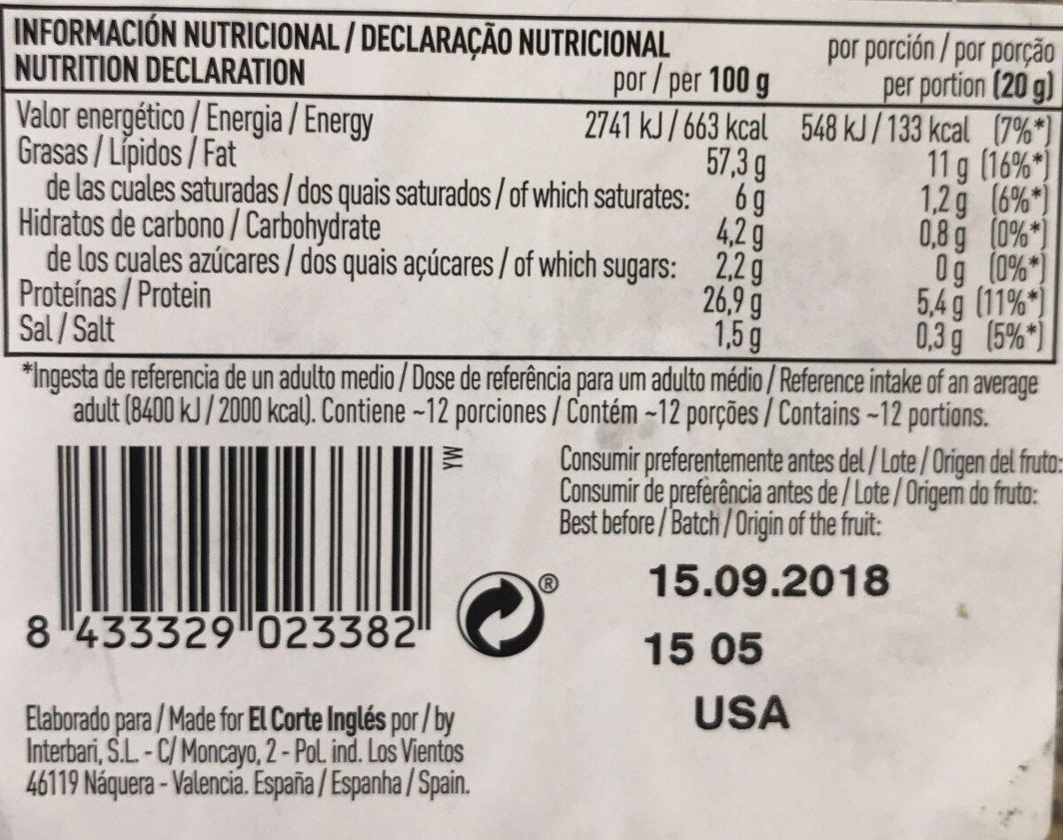 Pipas de girasol fritas y peladas - Informació nutricional