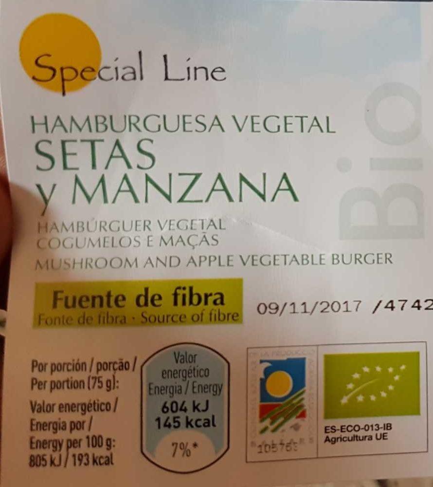 Bio hamburguesa vegetal de setas y manzana sin gluten ecológica - Product