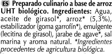 Preparado culinario a base de arroz UHT - Ingredients - es