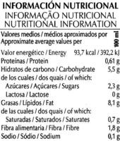 "Nata vegetal a base de arroz ecológica ""Special Line"" - Información nutricional"