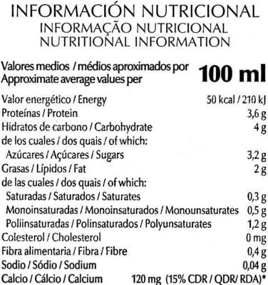 Bebida de soja enriquecida con calcio vegetal - Nutrition facts