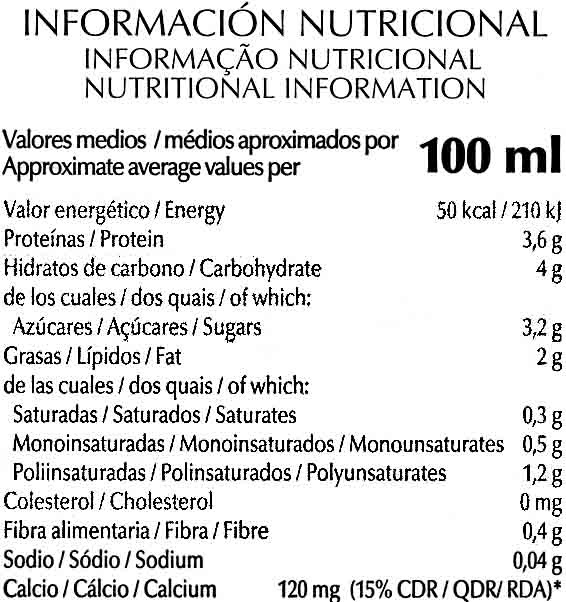Bebida de soja enriquecida con calcio vegetal - Informació nutricional