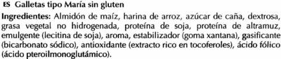 Galletas María sin gluten - Ingredientes