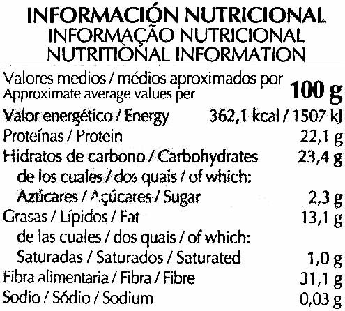 Semillas de lino - Nutrition facts