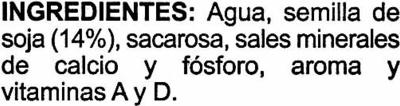 """Bebida de soja """"Aliada"""" - Ingredientes"""