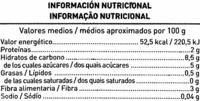 Menestra juliana especial congelada - Información nutricional