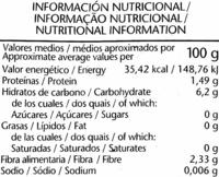 """Judías verdes redondas troceadas congeladas """"El Corte Inglés"""" - Información nutricional"""