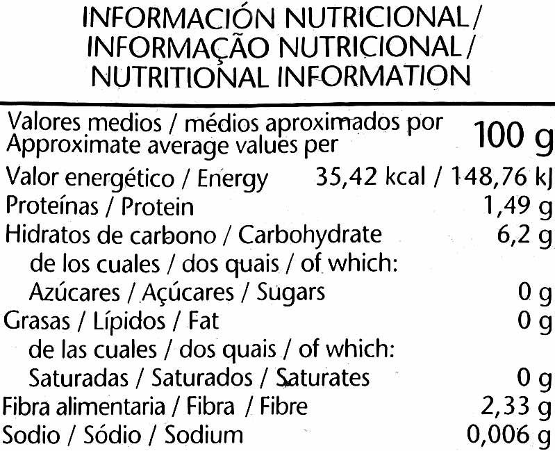 """Judías verdes redondas troceadas congeladas """"El Corte Inglés"""" - Nutrition facts - es"""