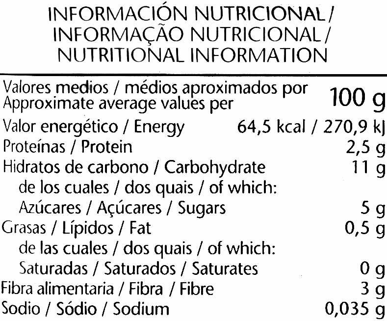 Menestra de verduras congelada - Informations nutritionnelles