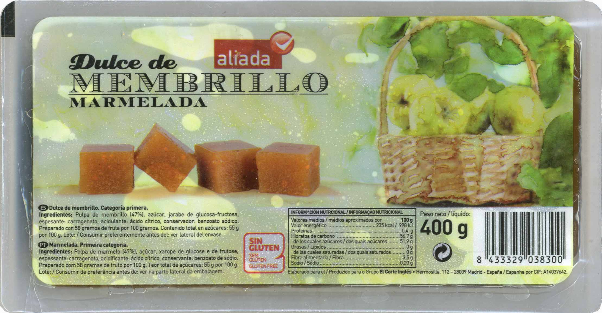 Dulce de membrillo tarrina 400 g - Produit - es