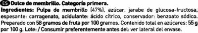 Dulce de membrillo tarrina 400 g - Ingrédients - es