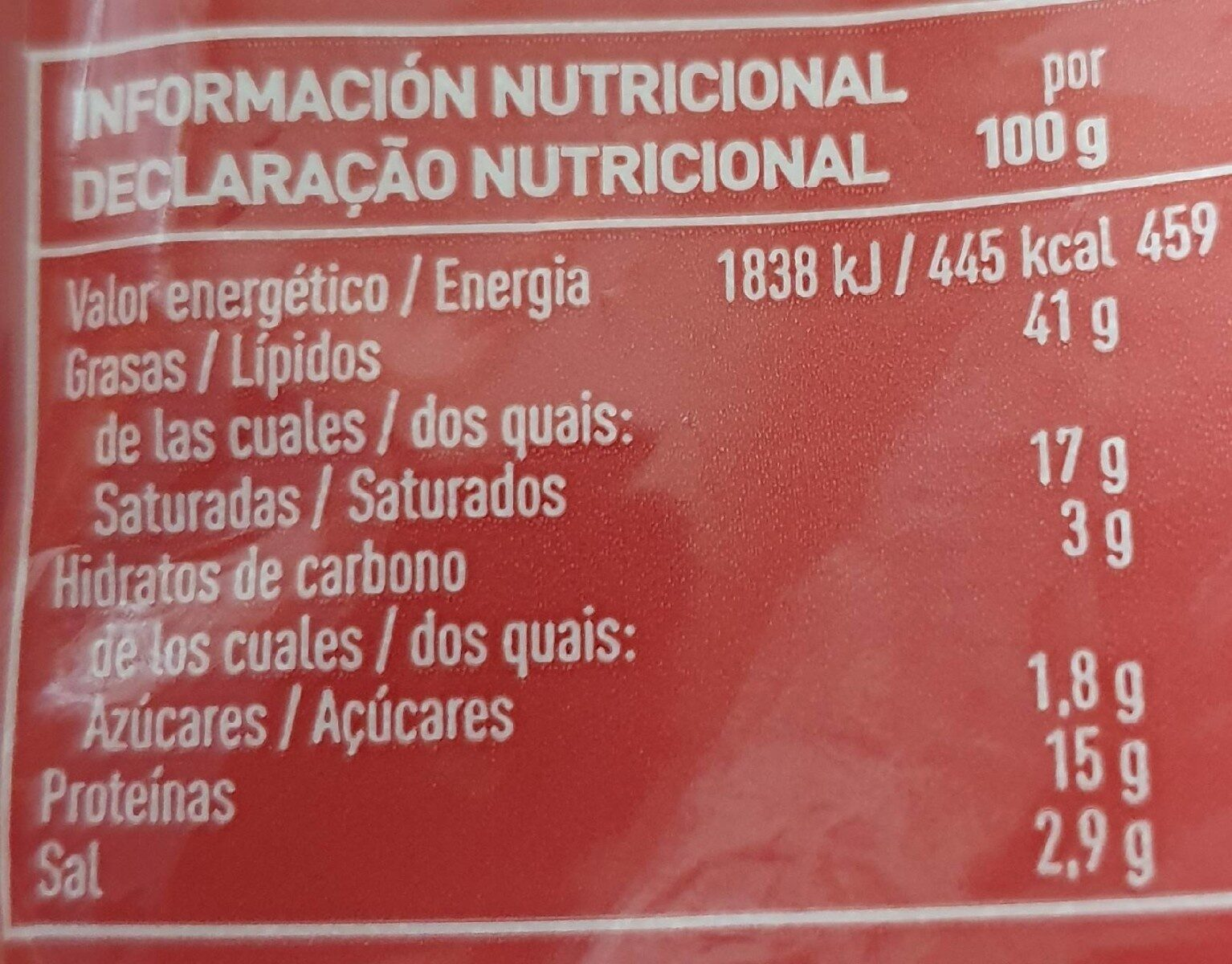 Salami extra lonchas sin gluten - Nutrition facts