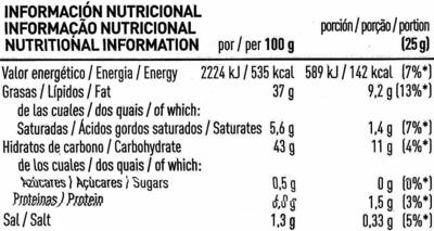 Patatas fritas onduladas caseras con 37% en aceite de oliva bolsa 170 g - Información nutricional - es