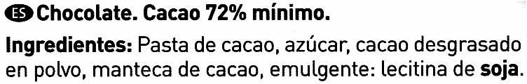 Chocolate negro 72% cacao - Ingredientes - es