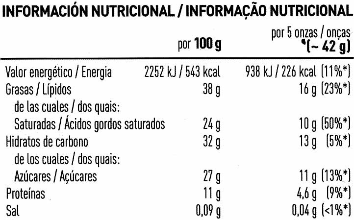 Chocolate negro 72% cacao - Nutrition facts - es