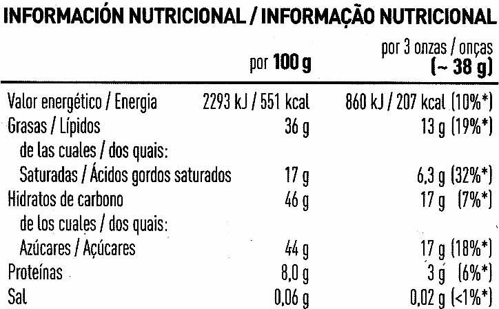 Chocolate negro con almendras - Nutrition facts - es