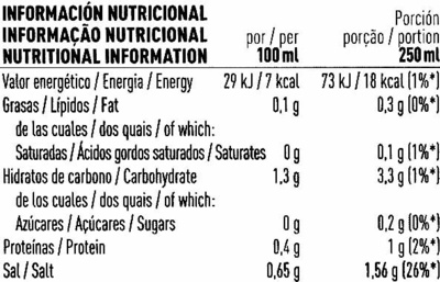 Caldo de verduras - Información nutricional
