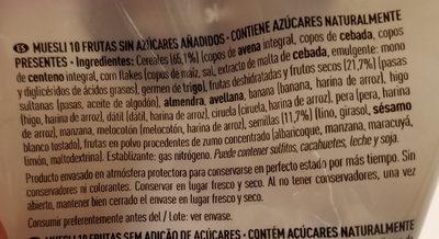 Muesli 10 frutas - Ingredients
