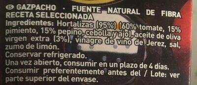 Gazpacho tradicional - Ingrédients
