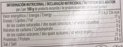 Sardinas aceite de oliva - Voedingswaarden - es