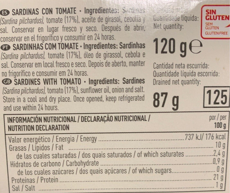 Sardinas tomate - Informations nutritionnelles - fr