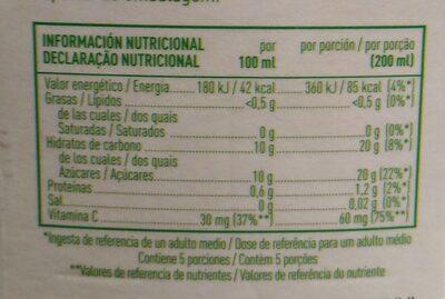 Zumo de naranja SIN PULPA - Información nutricional