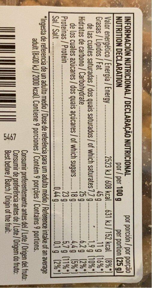 Cacahuetes fritos con miel tarrina - Informations nutritionnelles - es