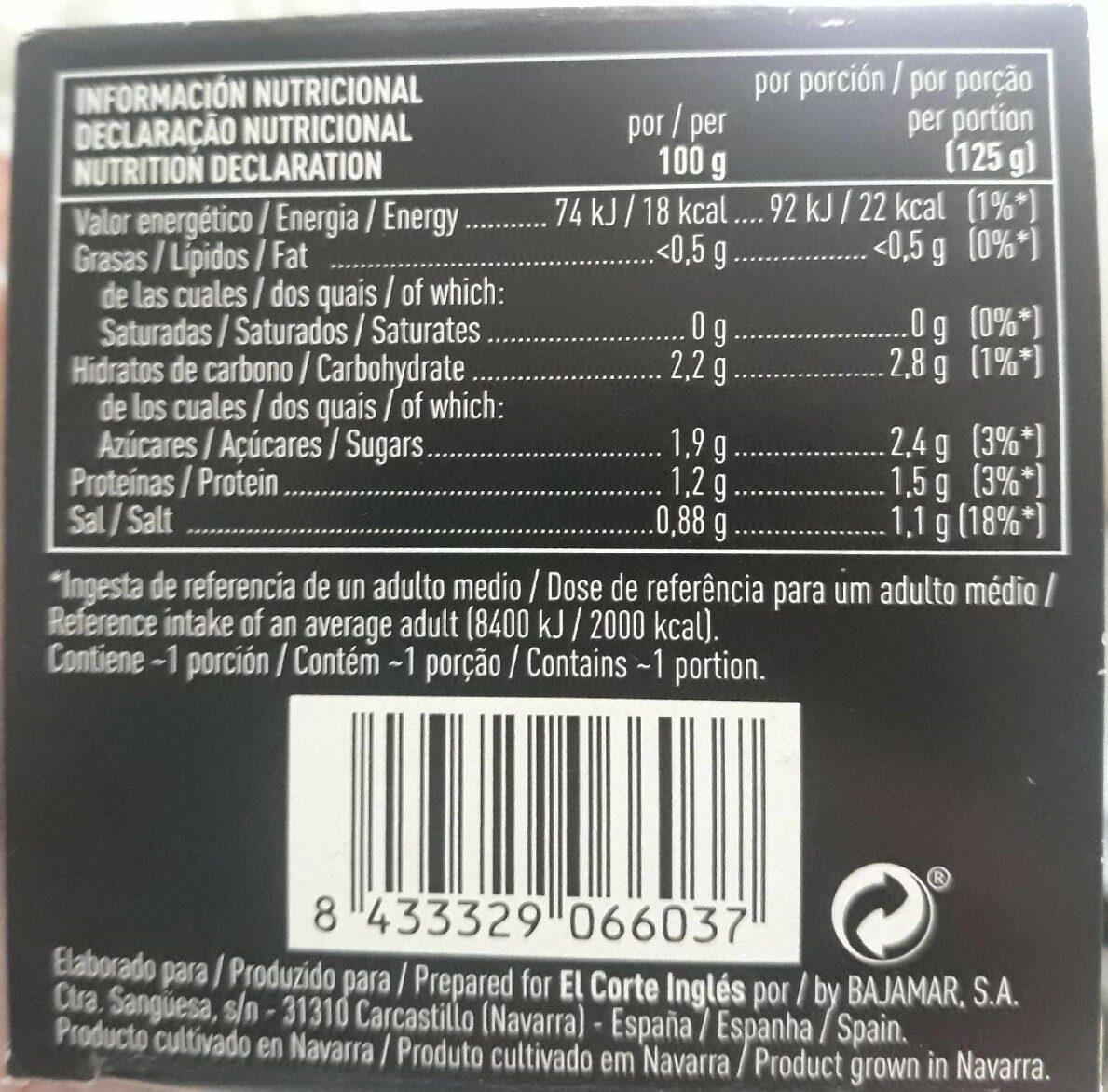 Yemas de espárragos blancos i.g.p. medianas - Informations nutritionnelles - es