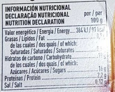 Flan de vainilla - Informació nutricional