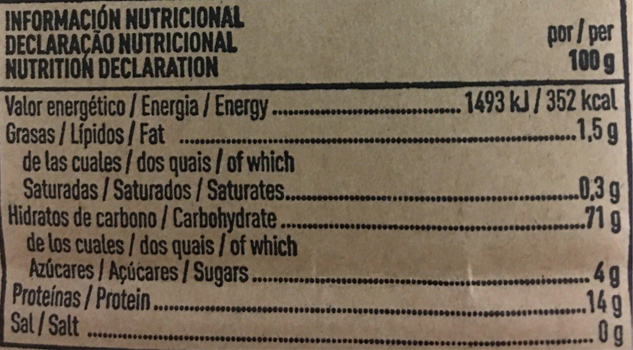 Pasta de sémola de trigo duro - Nutrition facts - es