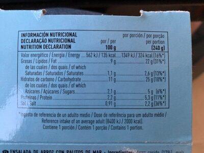 Ensalada de arroz con palitos de mar - Informations nutritionnelles - es