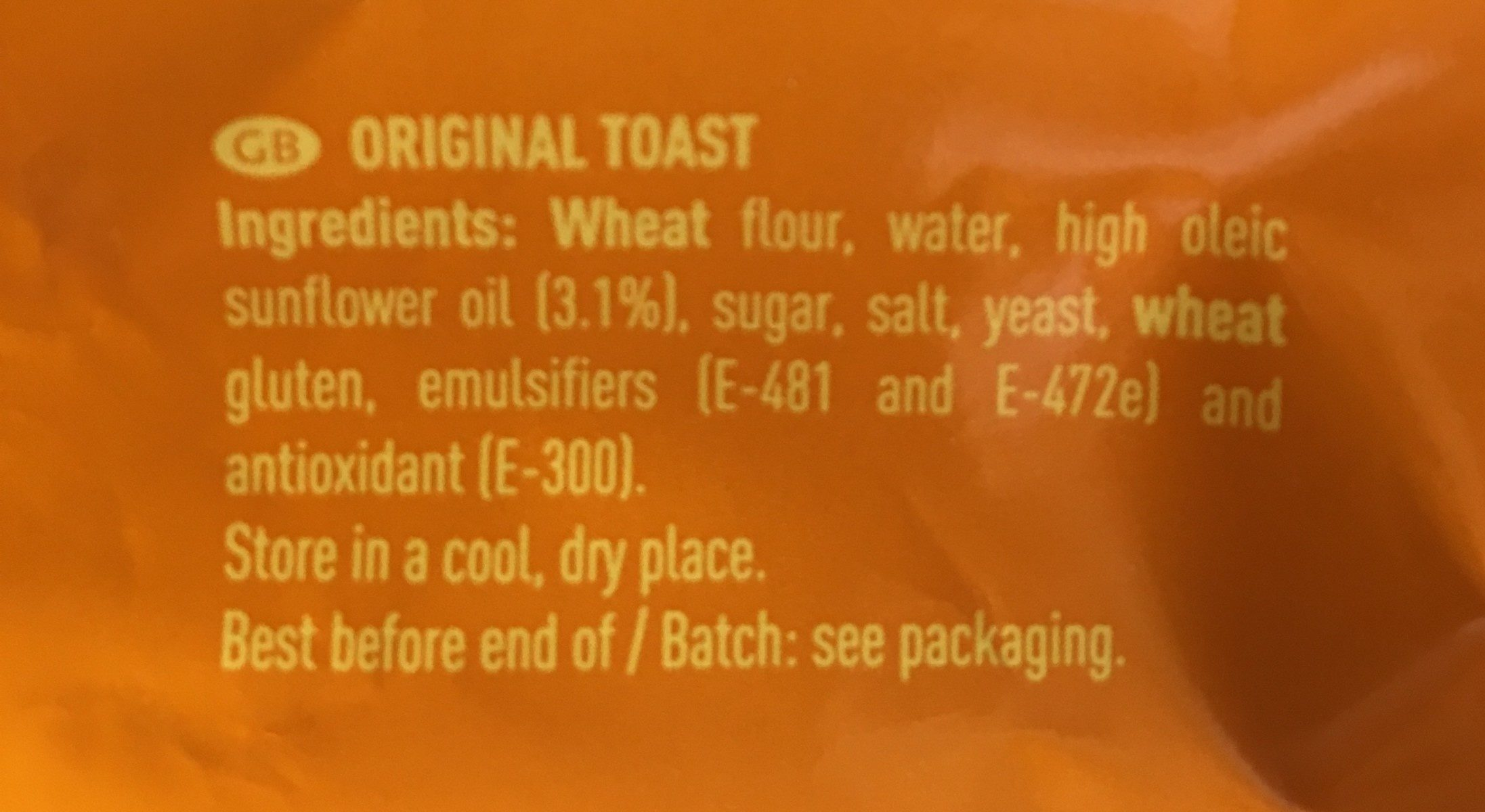 Pan tostado - Ingrédients - fr