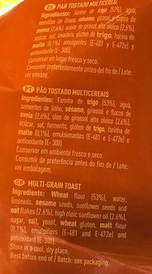 Pan tostado multicereales - Ingrediënten