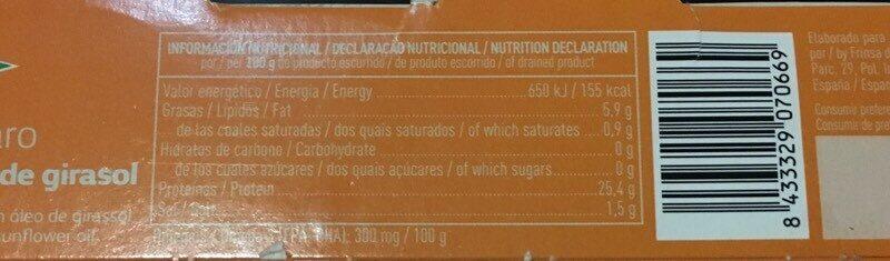 Atún claro en aceite de girasol - Nutrition facts