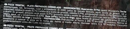 Pizza vegetal - Ingrédients - es