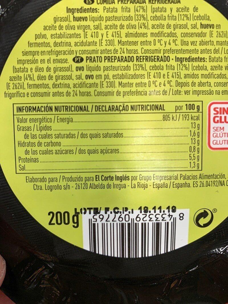 Patata todo uso - Información nutricional - es