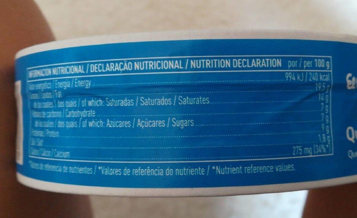 Queso fundido en porciones - Informació nutricional